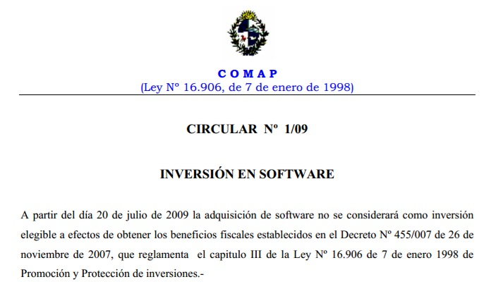 Comap Circular 1 del 2009_No Software